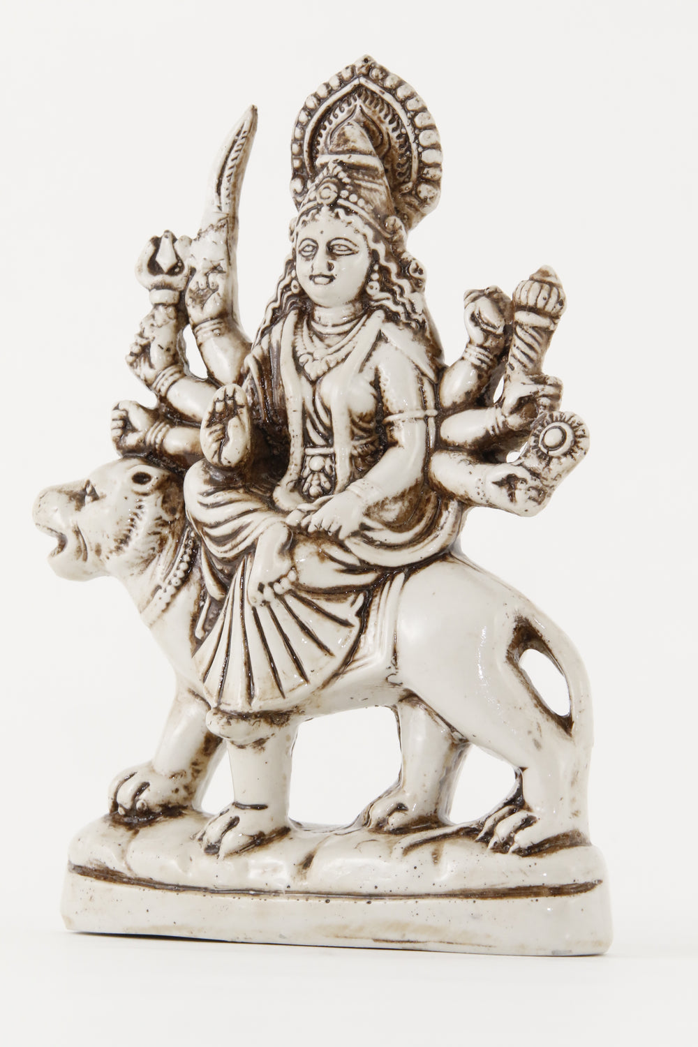 GODDESS DURGA STATUE OFFWHITE SIDE VIEW