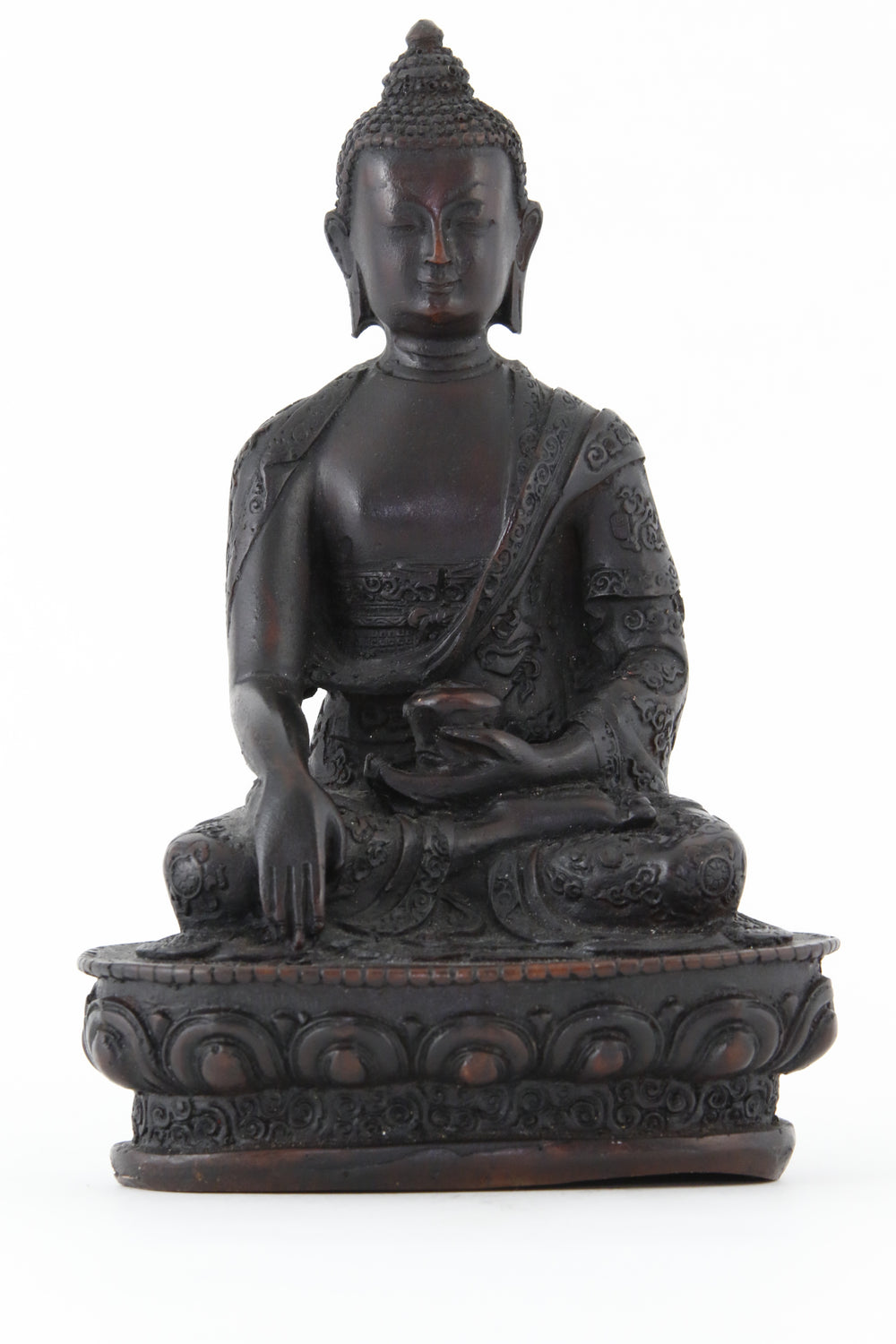 EARTH TOUCHING BUDDHA STATUE DARK LARGE FRONT VIEW