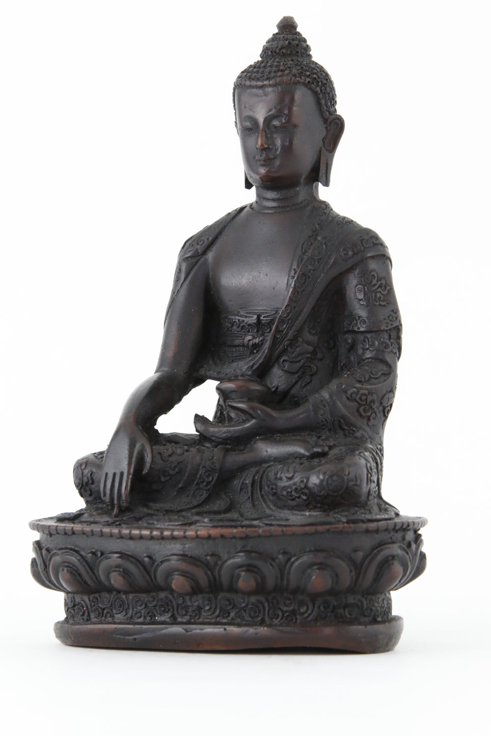 EARTH TOUCHING BUDDHA STATUE DARK LARGE SIDE VIEW