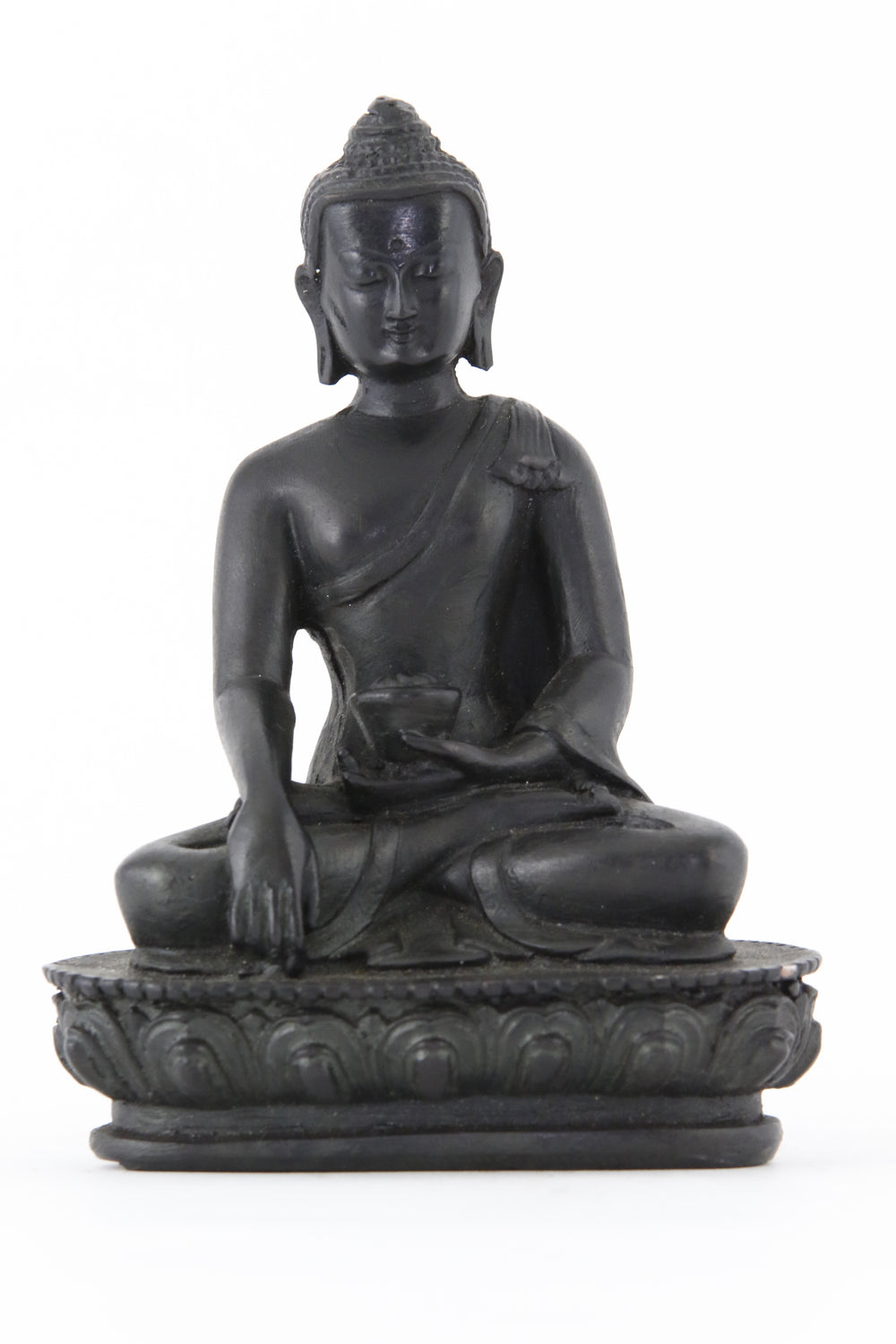 EARTH TOUCHING BUDDHA STATUE DARK MEDIUM SIZE FRONT VIEW