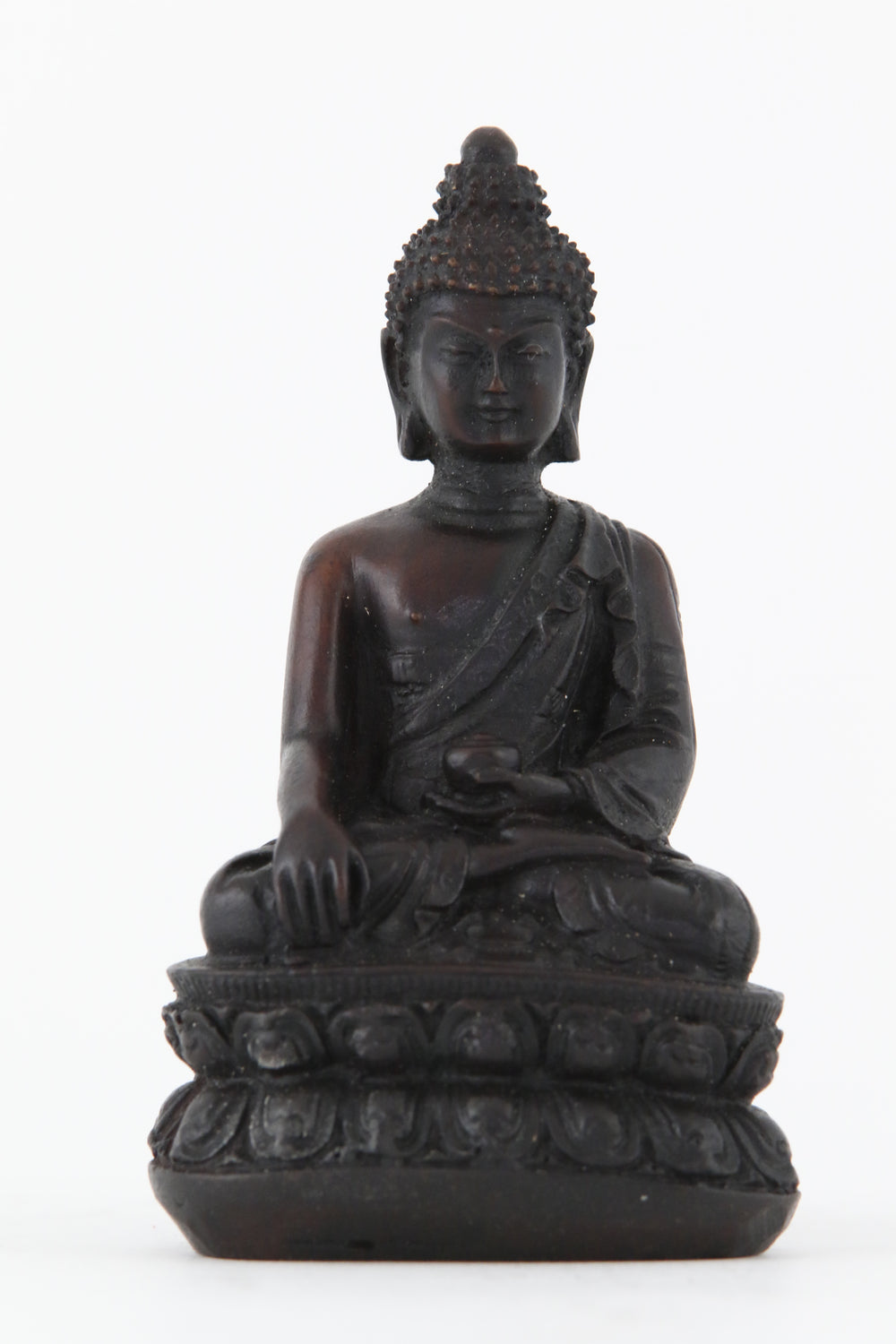 EARTH TOUCHING BUDDHA STATUE DARK SMALL FRONT VIEW