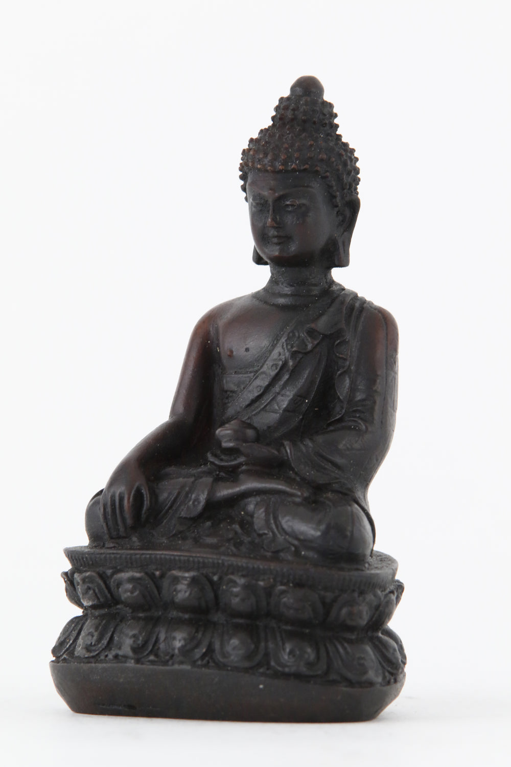 EARTH TOUCHING BUDDHA STATUE DARK SMALL SIDE VIEW