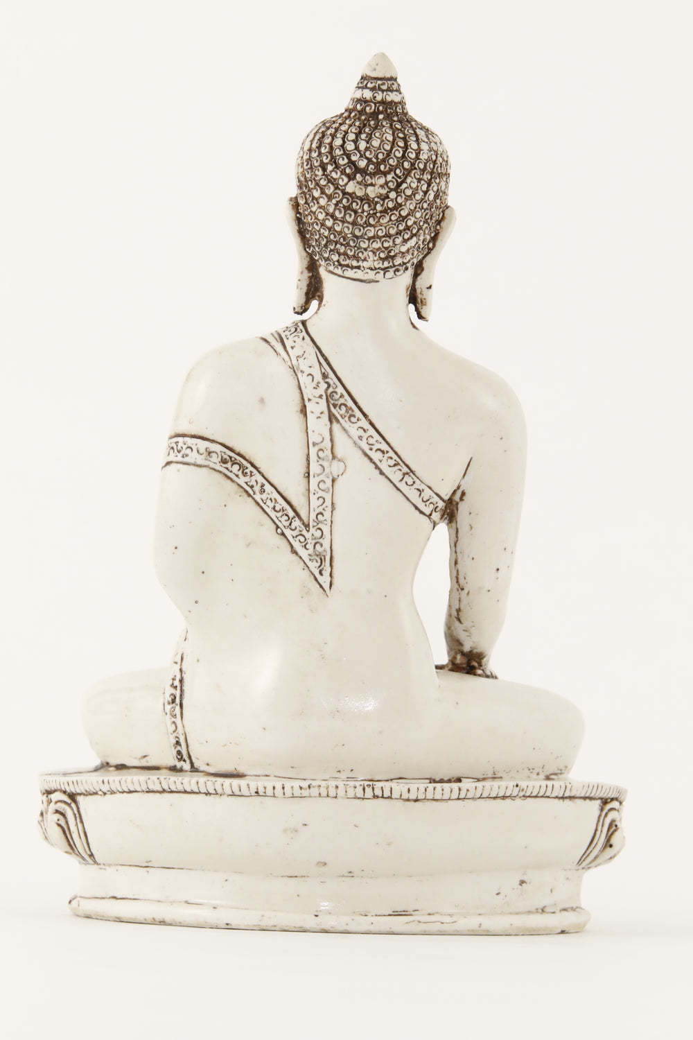 EARTH TOUCHING BUDDHA STATUE OFF-WHITE LARGE BACK VIEW