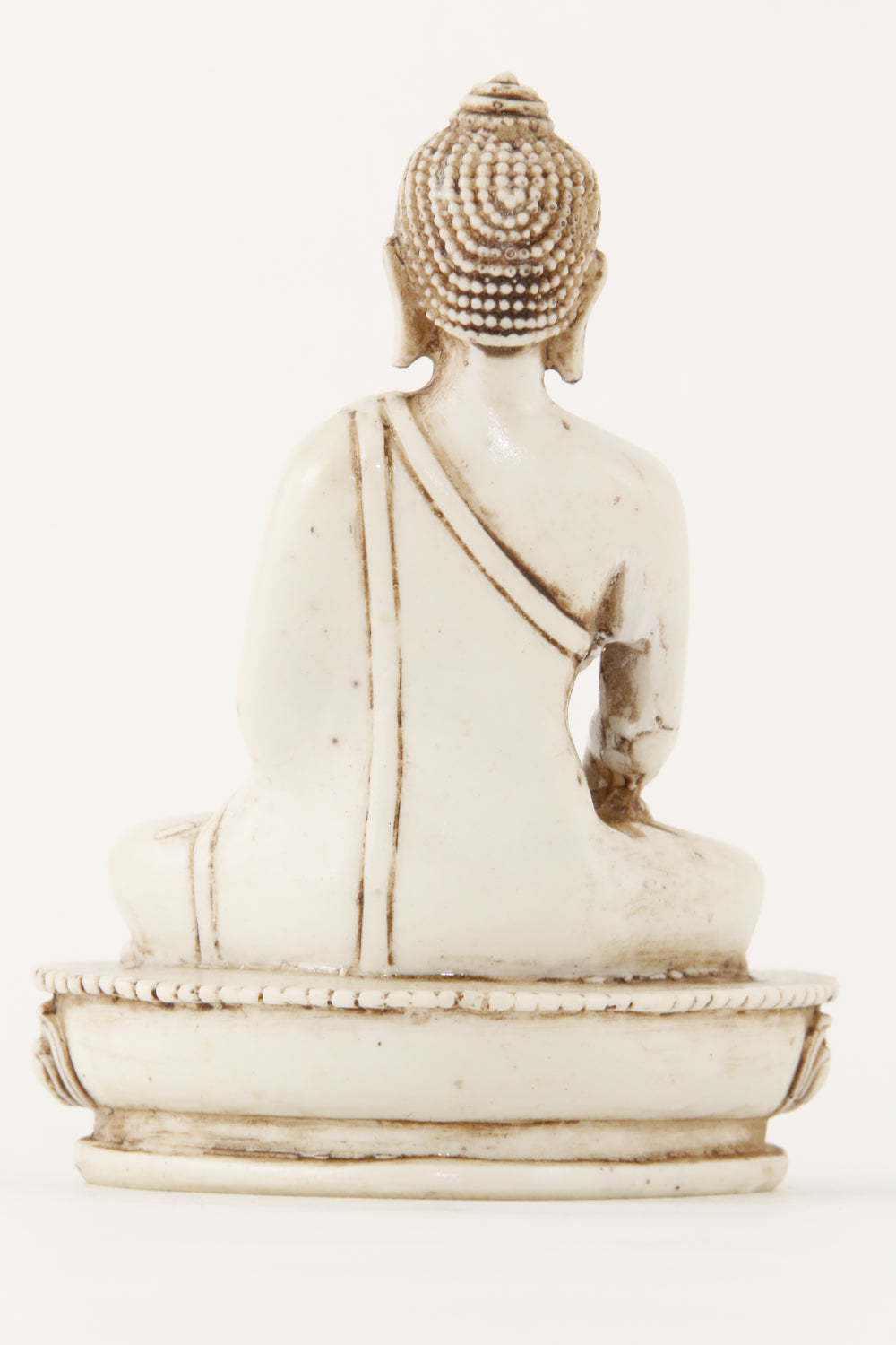 EARTH TOUCHING BUDDHA STATUE OFF-WHITE MEDIUM SIZE BACK VIEW