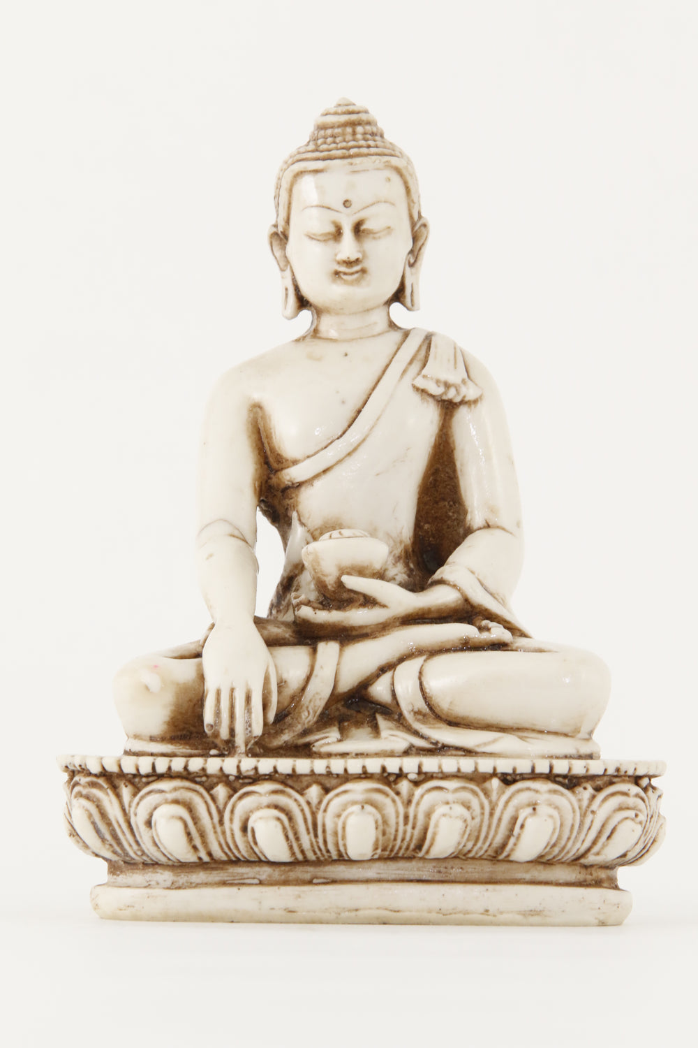 EARTH TOUCHING BUDDHA STATUE OFF-WHITE MEDIUM SIZE FRONT VIEW