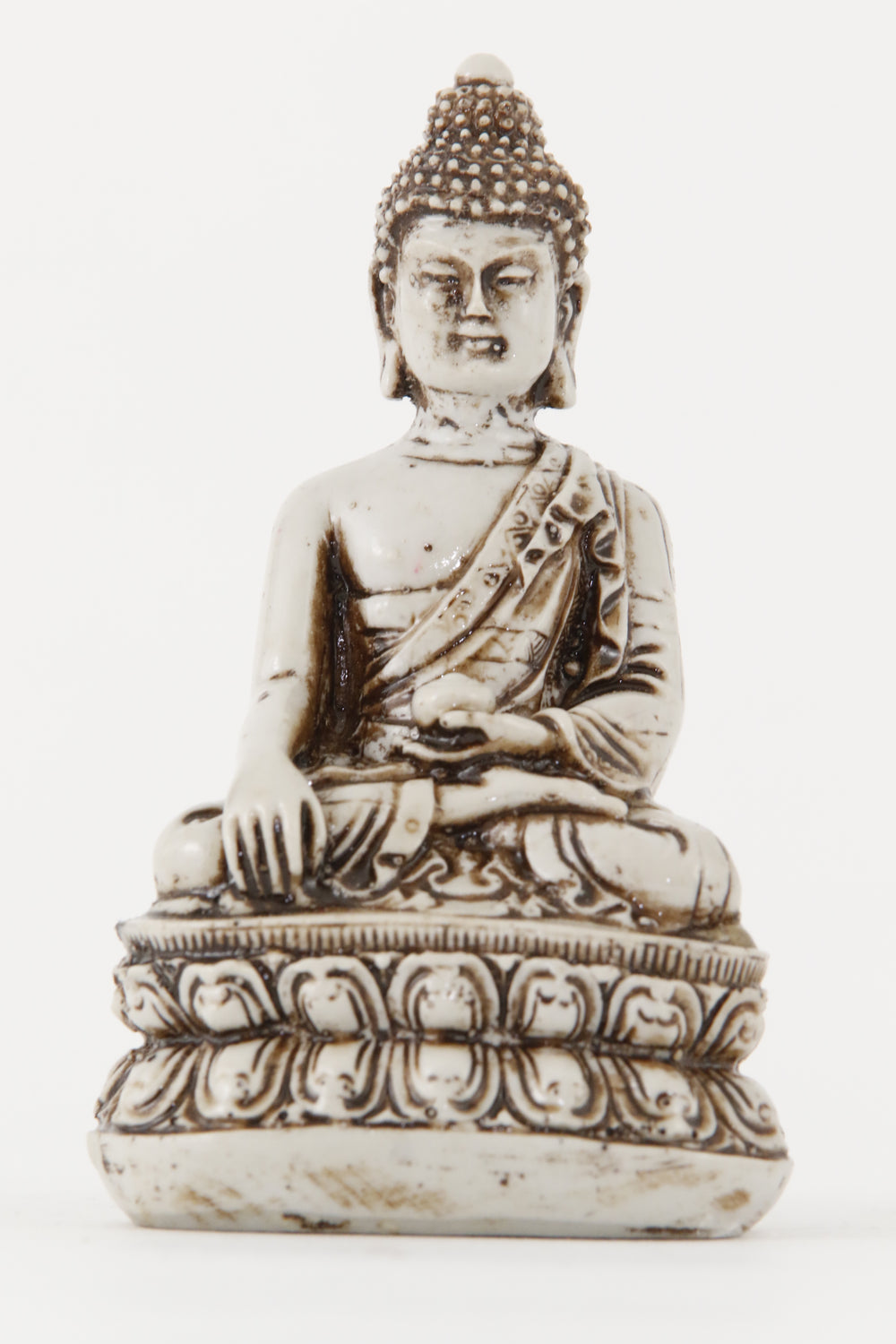 EARTH TOUCHING BUDDHA STATUE OFF-WHITE SMALL FRONT VIEW