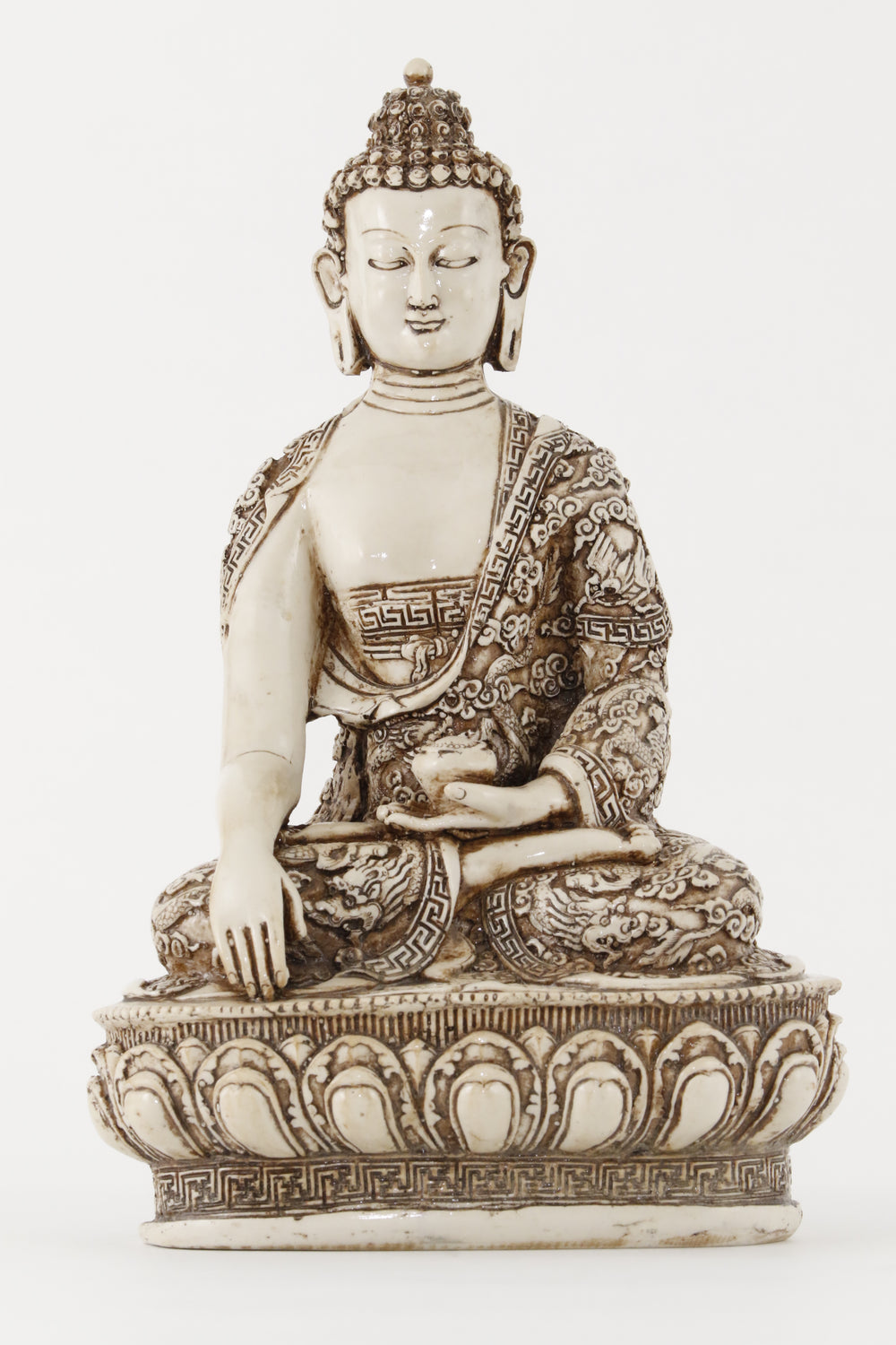 EARTH TOUCHING BUDDHA STATUE OFF-WHITE EXTRA LARGE FRONT VIEW