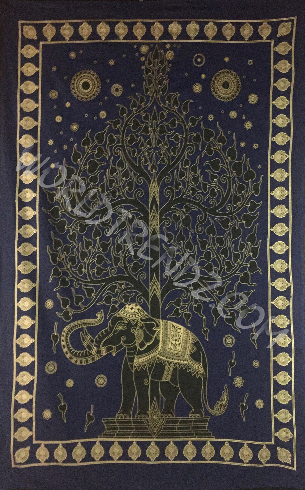 ELEPHANT BODHI TREE TAPESTRY NAVY BLUE GOLD