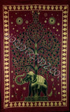 ELEPHANT BODHI TREE TAPESTRY BURGUNDY GOLD