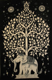 ELEPHANT BODHI TREE TAPESTRY WHITE IMAGE BLACK BACKGROUND