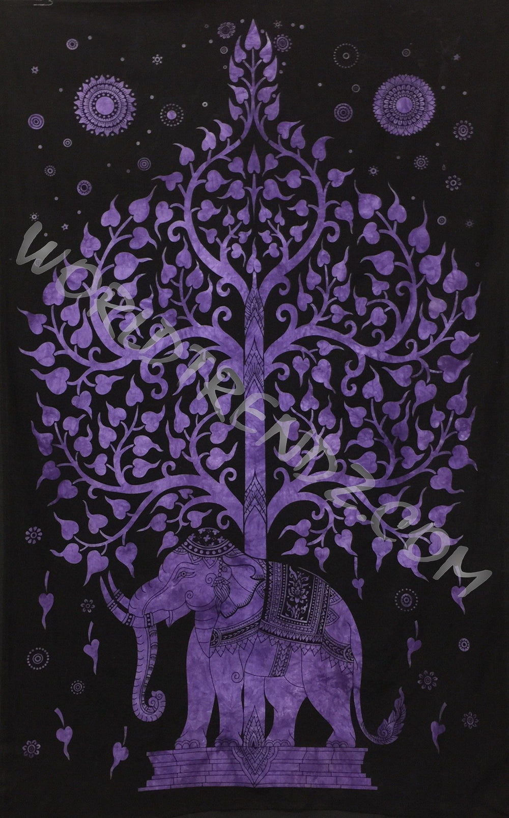 ELEPHANT BODHI TREE TAPESTRY PURPLE IMAGE BLACK BACKGROUND