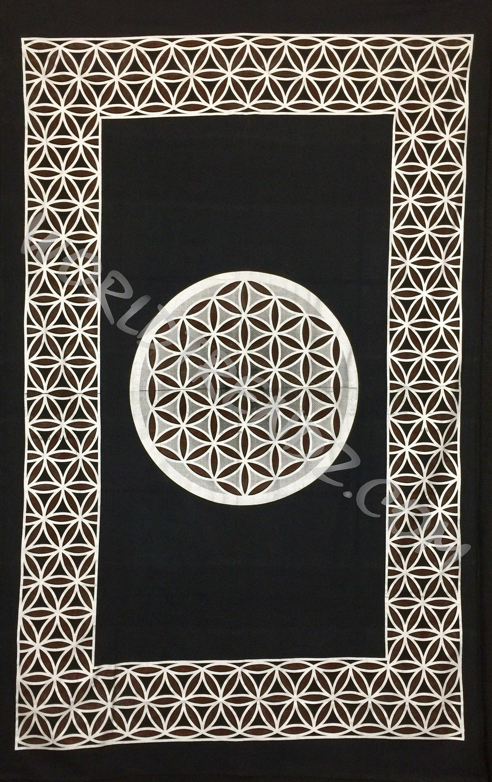 FLOWER OF LIFE TAPESTRY BLACK-SILVER-BROWN