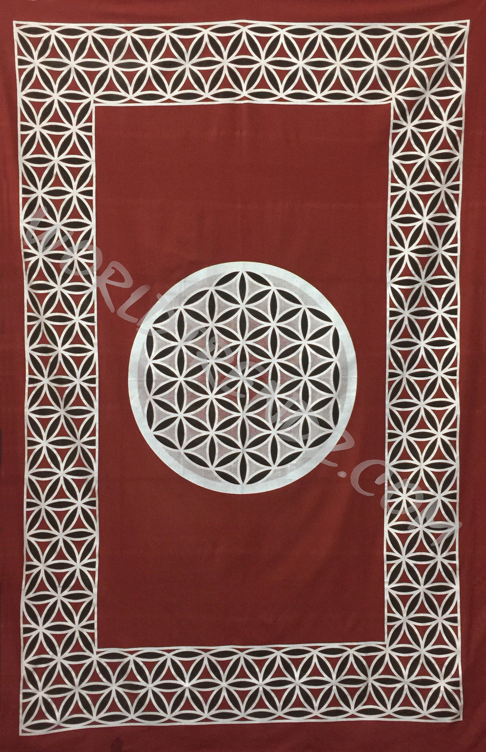 FLOWER OF LIFE TAPESTRY RED-SILVER-BLACK