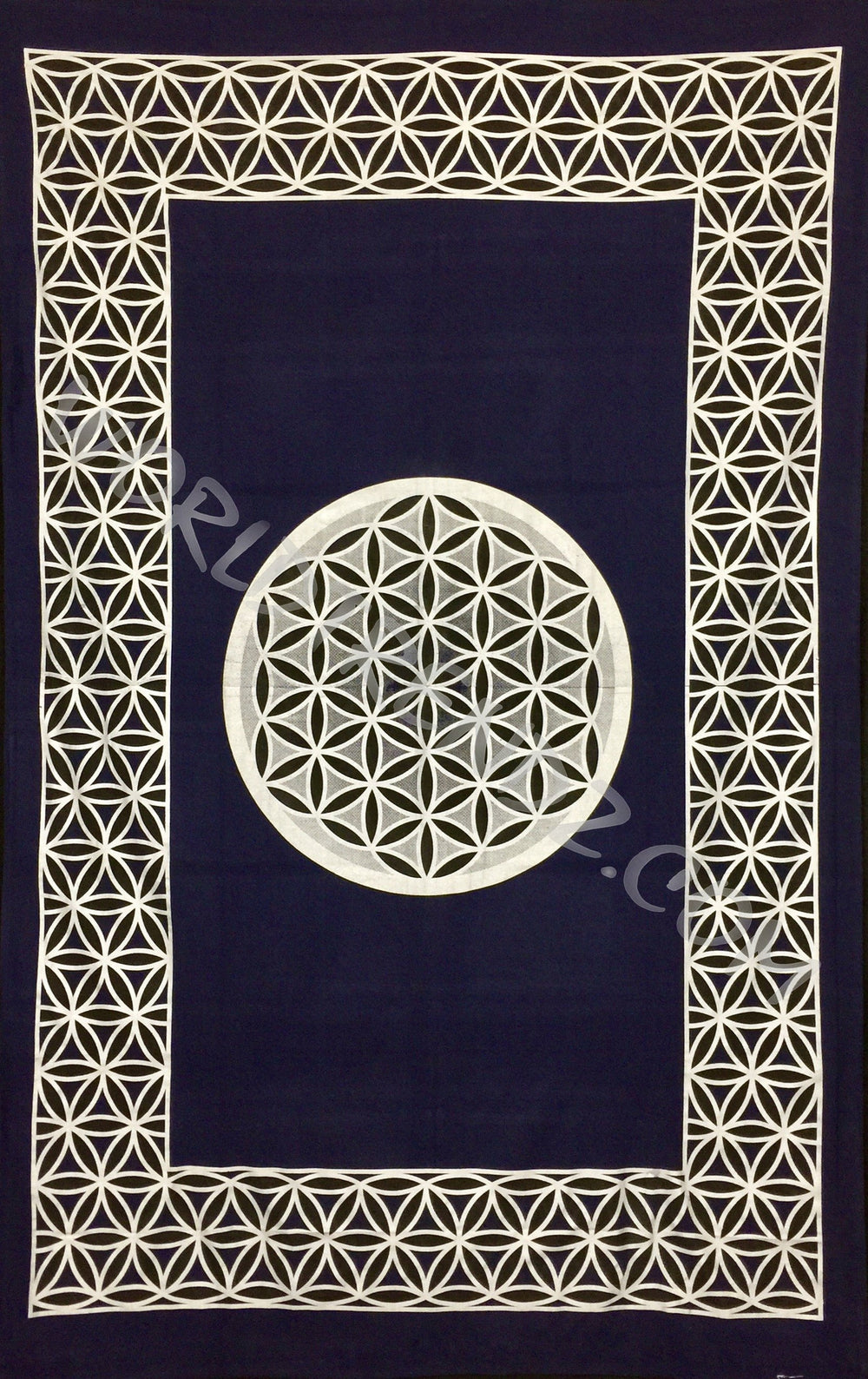 FLOWER OF LIFE TAPESTRY NAVY BLUE -SILVER-BLACK