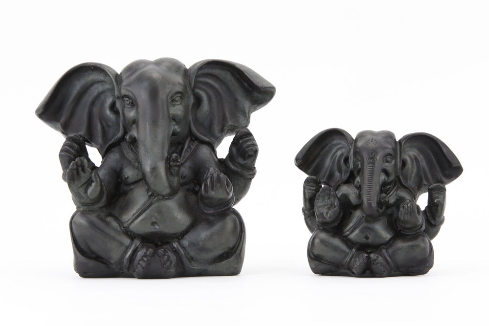 GANESHA BALD POINTY EARS STATUE DARK SIZE COMPARISON FRONT VIEW