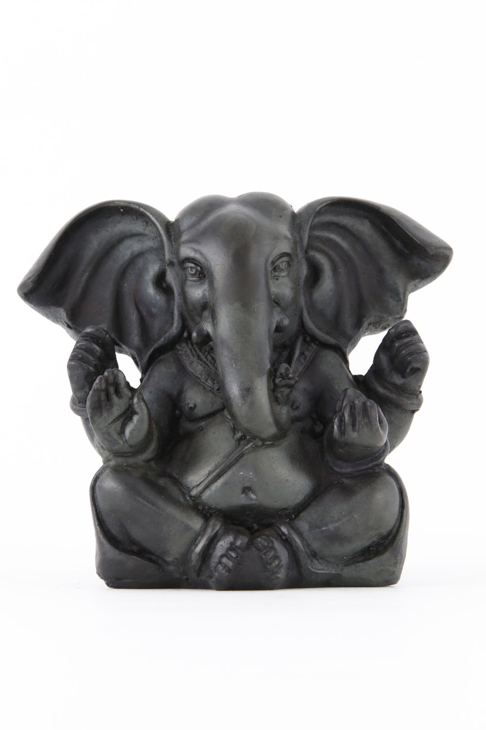 GANESHA BALD POINTY EARS STATUE DARK LARGE FRONT VIEW