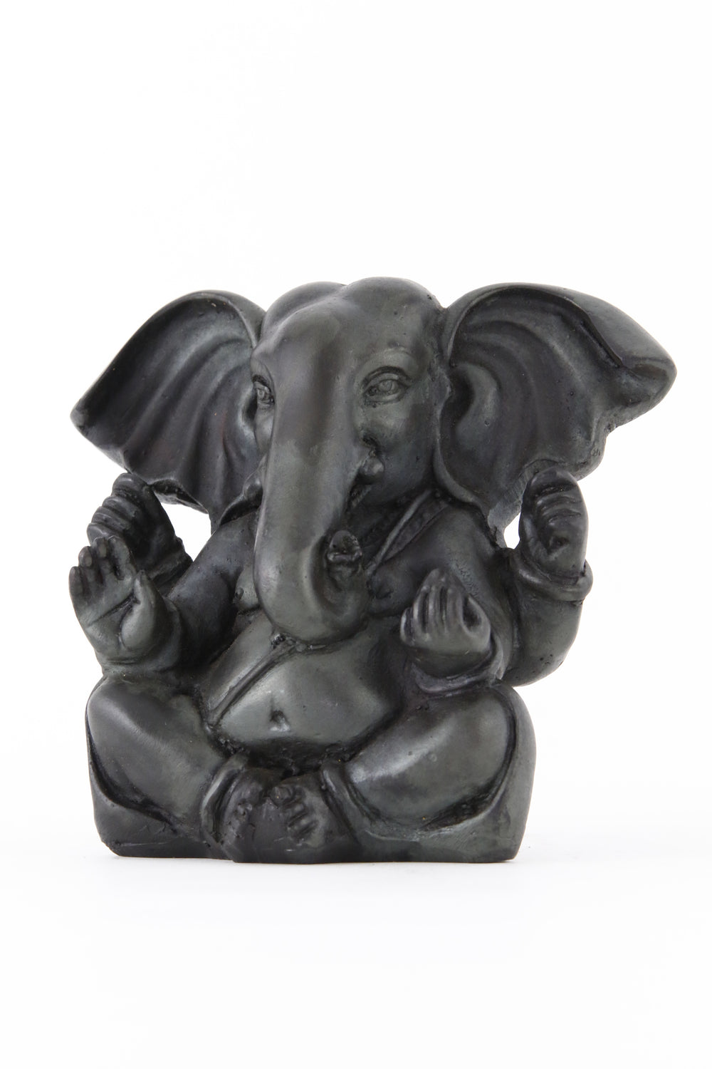 GANESHA BALD POINTY EARS STATUE DARK LARGE SIDE  VIEW