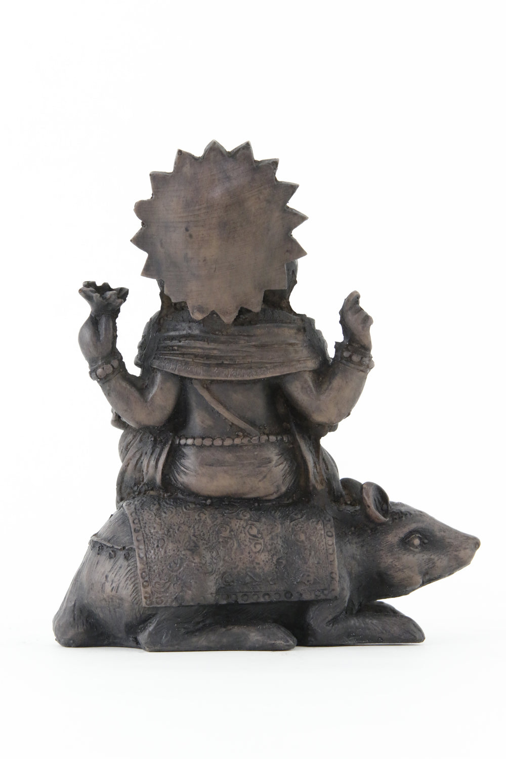 GANESHA ON MOUSE STATUE DARK BACK VIEW
