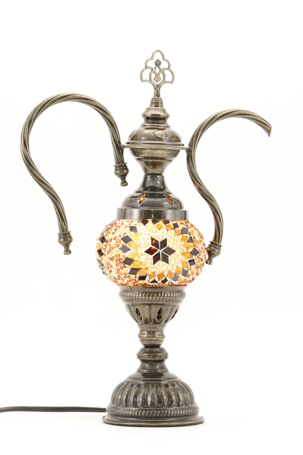 TURKISH MOSAIC GENIE BOTTLE TABLE LAMP AMBER -TURNED ON