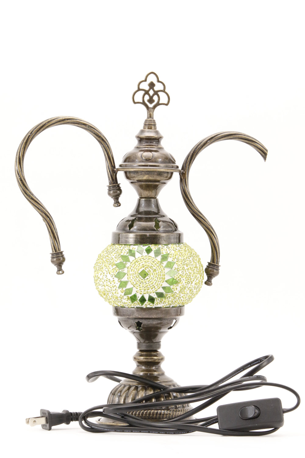 TURKISH MOSAIC GENIE BOTTLE TABLE LAMP LIME GREEN -TURNED OFF