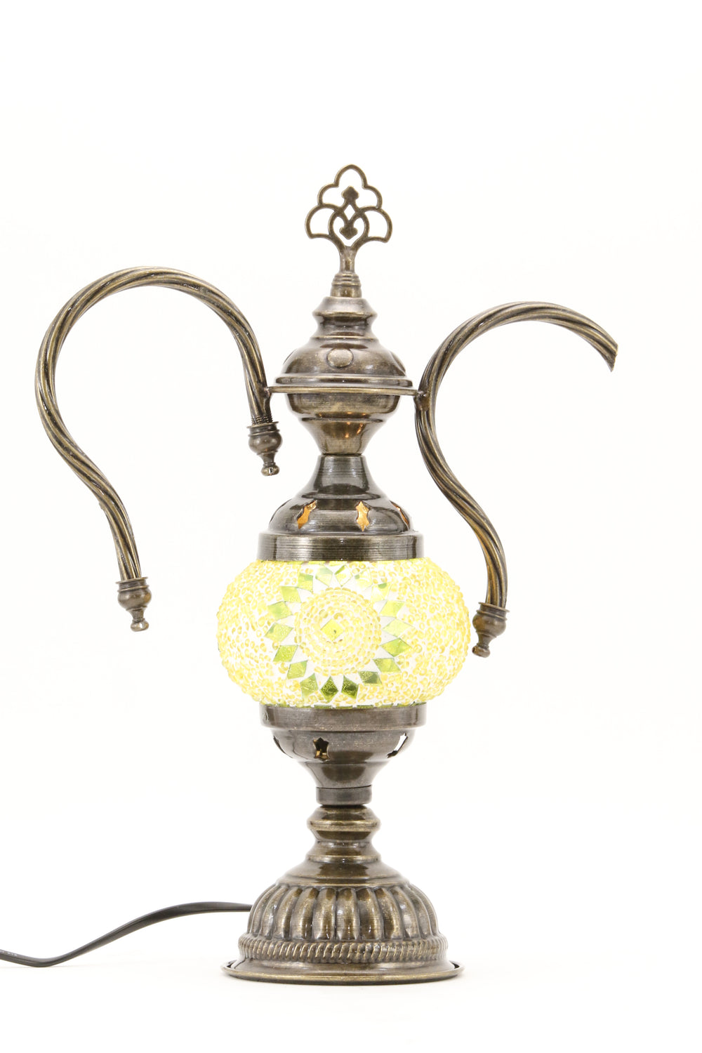 TURKISH MOSAIC GENIE BOTTLE TABLE LAMP LIME GREEN -TURNED ON