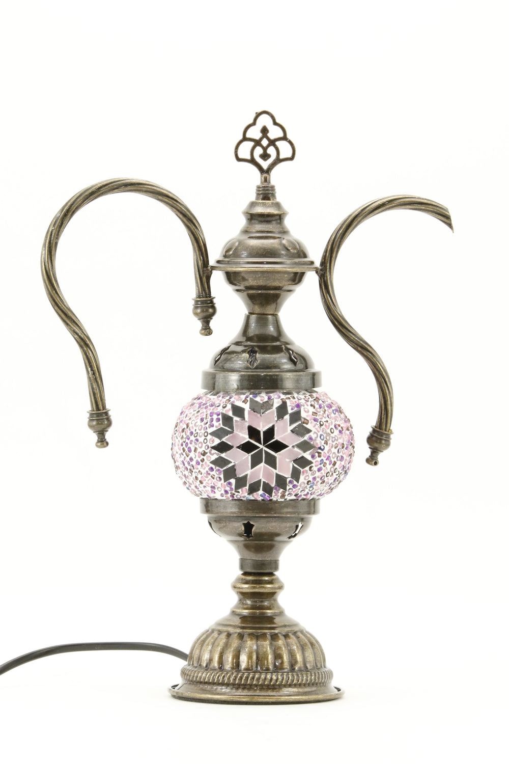 TURKISH MOSAIC GENIE BOTTLE TABLE LAMP MAUVISH PINK -TURNED OFF