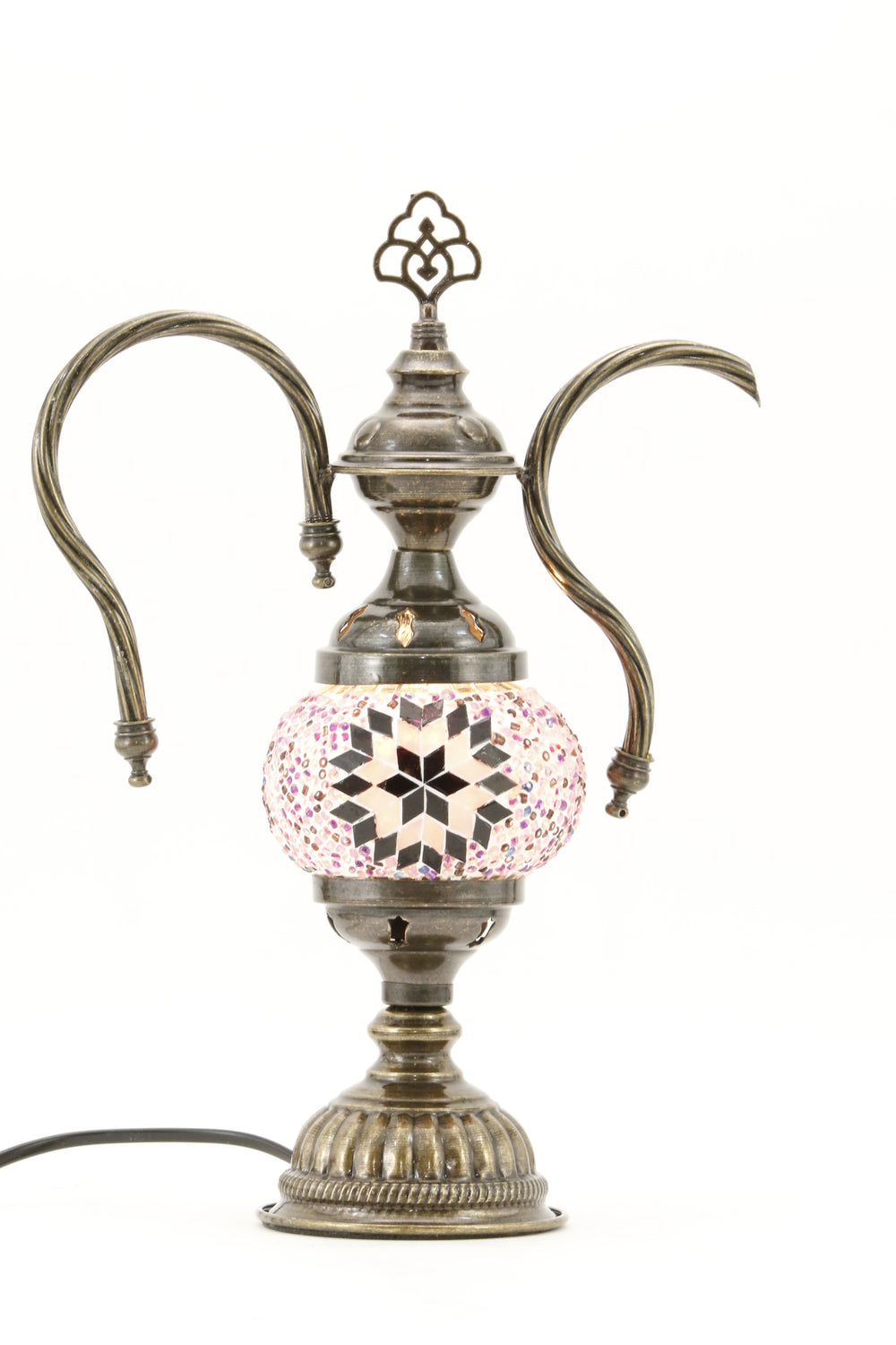 TURKISH MOSAIC GENIE BOTTLE TABLE LAMP MAUVISH PINK -TURNED ON