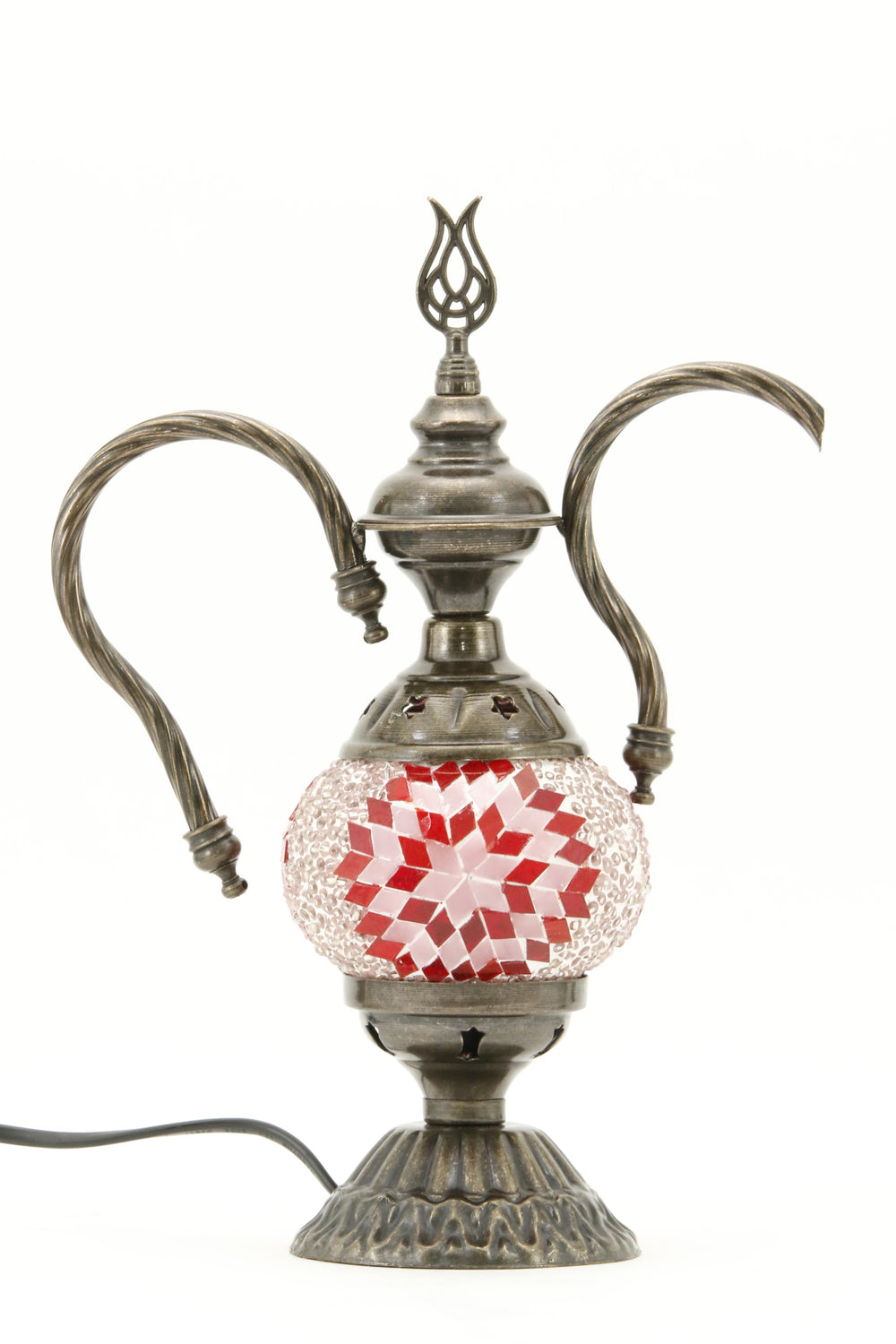 TURKISH MOSAIC GENIE BOTTLE TABLE LAMP RED -TURNED OFF
