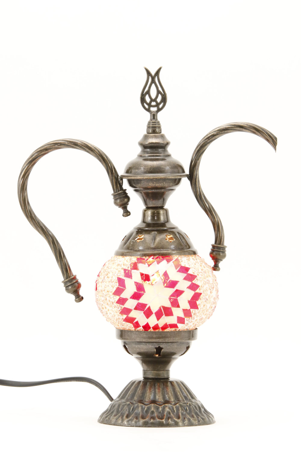 TURKISH MOSAIC GENIE BOTTLE TABLE LAMP RED -TURNED ON