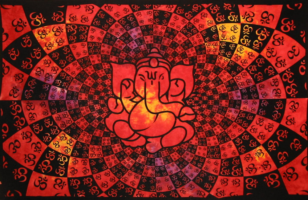 GANESHA PSYCHEDELIC TAPESTRY MULTI RED