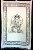 GANESHA TRADITIONAL TAPESTRY WHITE BLACK