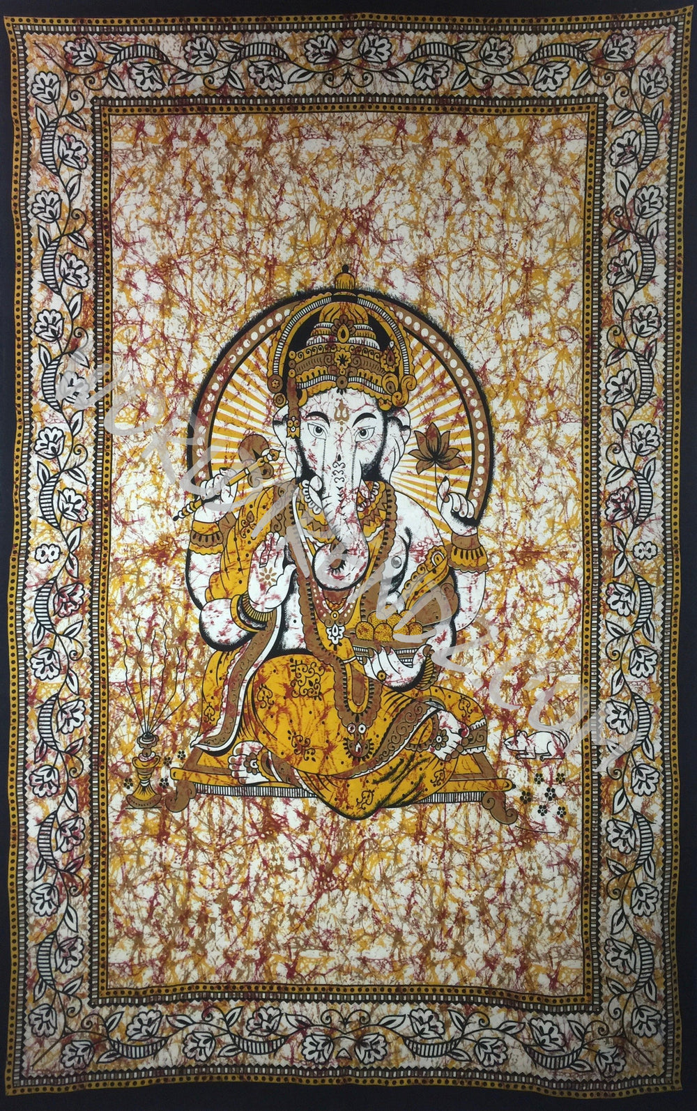 GANESHA TRADITIONAL TAPESTRY YELLOW BATIK