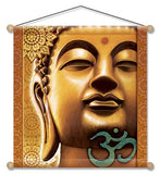 GOLDEN BUDDHA TEMPLE MEDITATION BANNER WALL HANGING