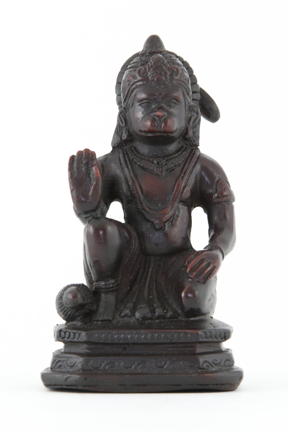 HANUMAN BLESSING STATUE DARK SMALL FRONT VIEW