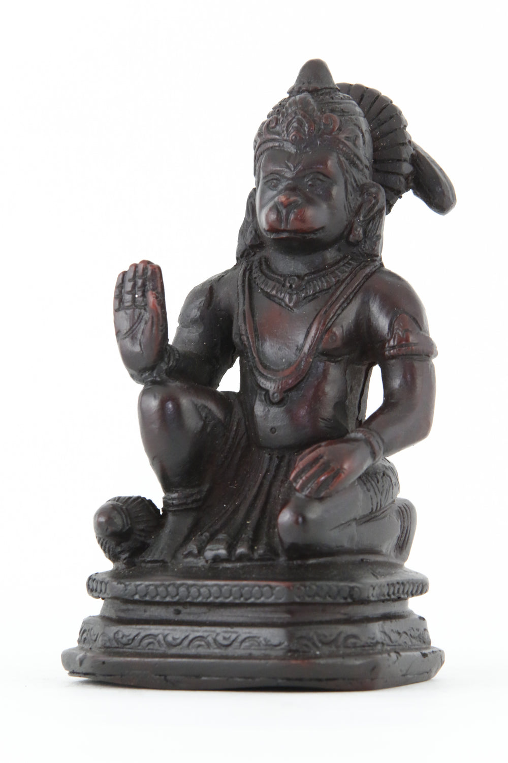 HANUMAN BLESSING STATUE DARK SMALL SIDE VIEW
