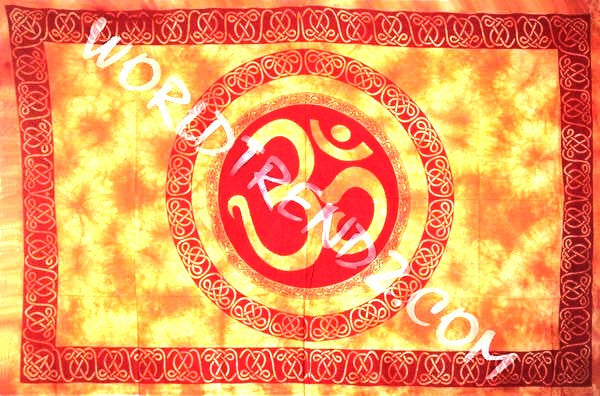 OM CELTIC MANDALA TAPESTRY YELLOW WITH RED