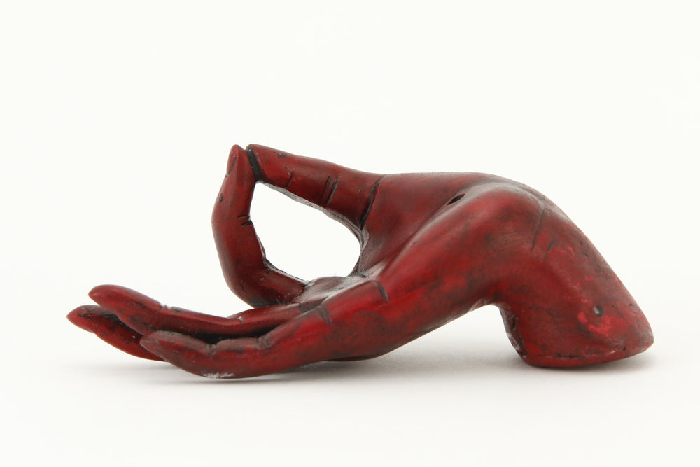 MUDRA HAND INCENSE BURNER RED FRONT VIEW