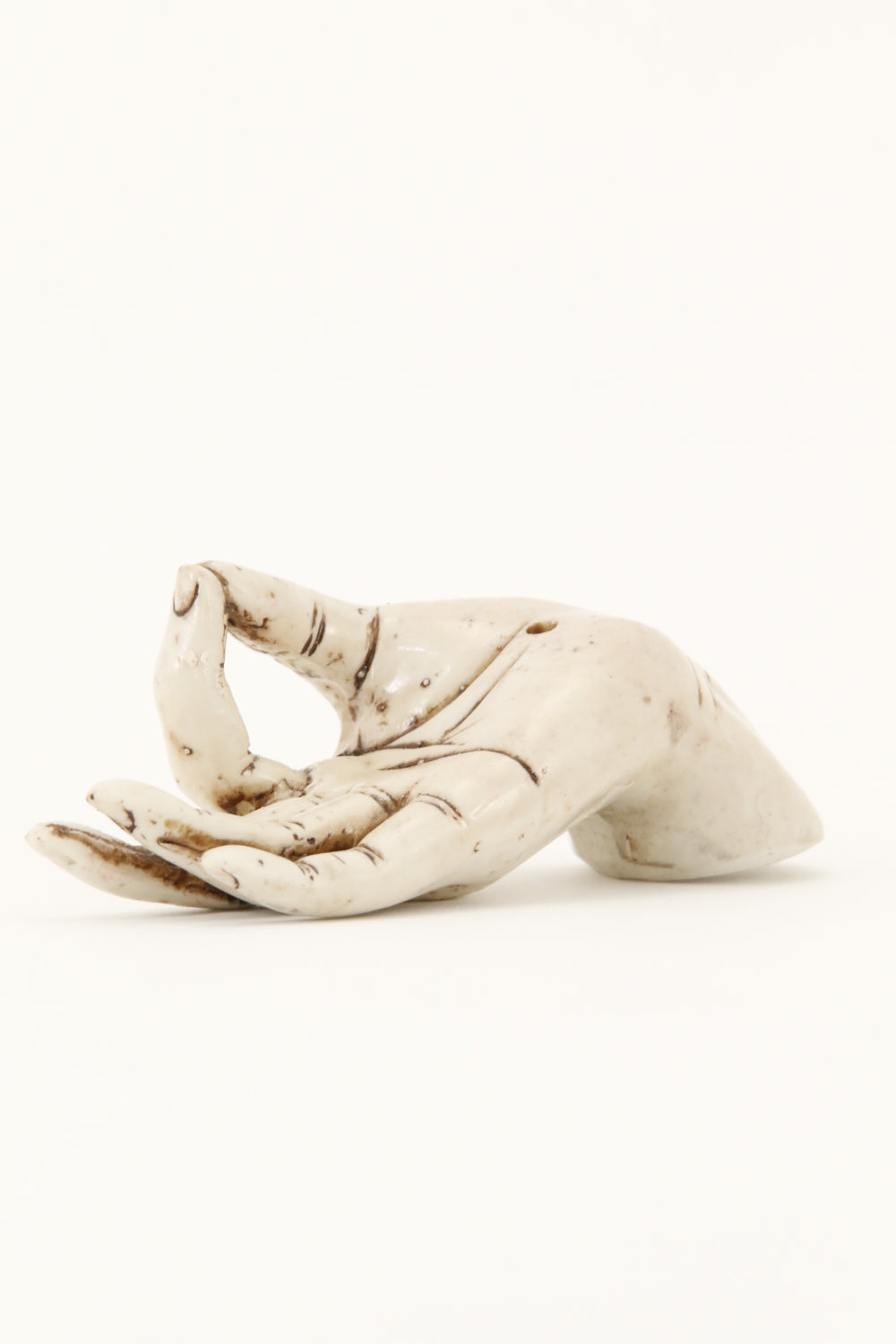 MUDRA HAND INCENSE BURNER OFF-WHITE SIDE VIEW