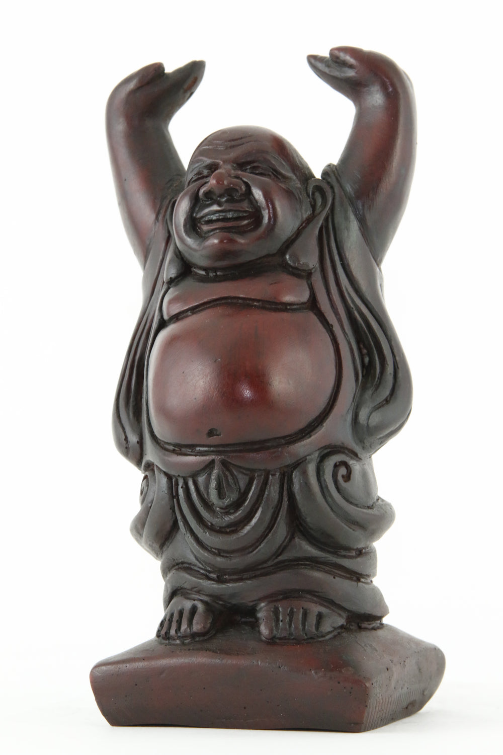 LAUGHING BUDDHA STATUE DARK LARGE SIZE SIDE VIEW