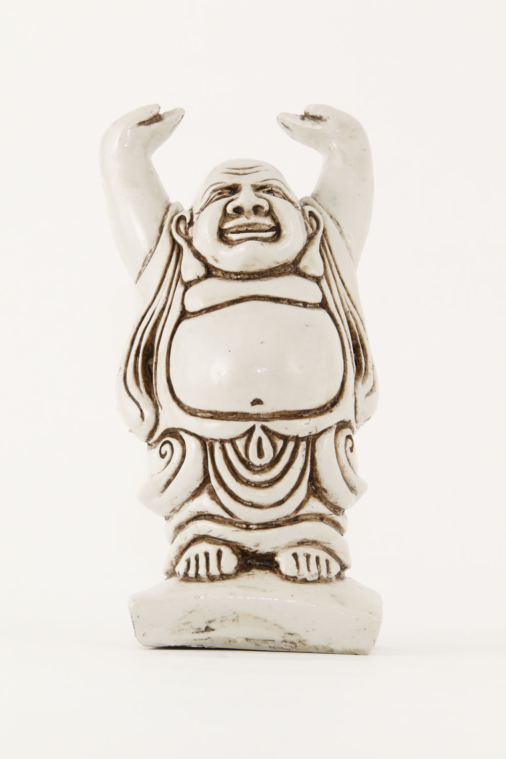 LAUGHING BUDDHA STATUE OFF-WHITE LARGE SIZE FRONT VIEW