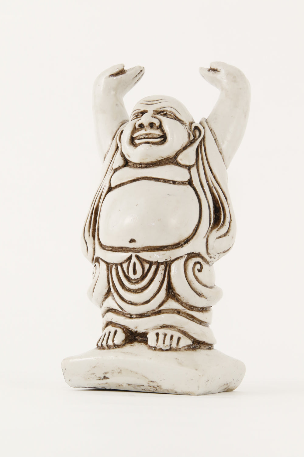 LAUGHING BUDDHA STATUE OFF-WHITE LARGE SIZE SIDE VIEW
