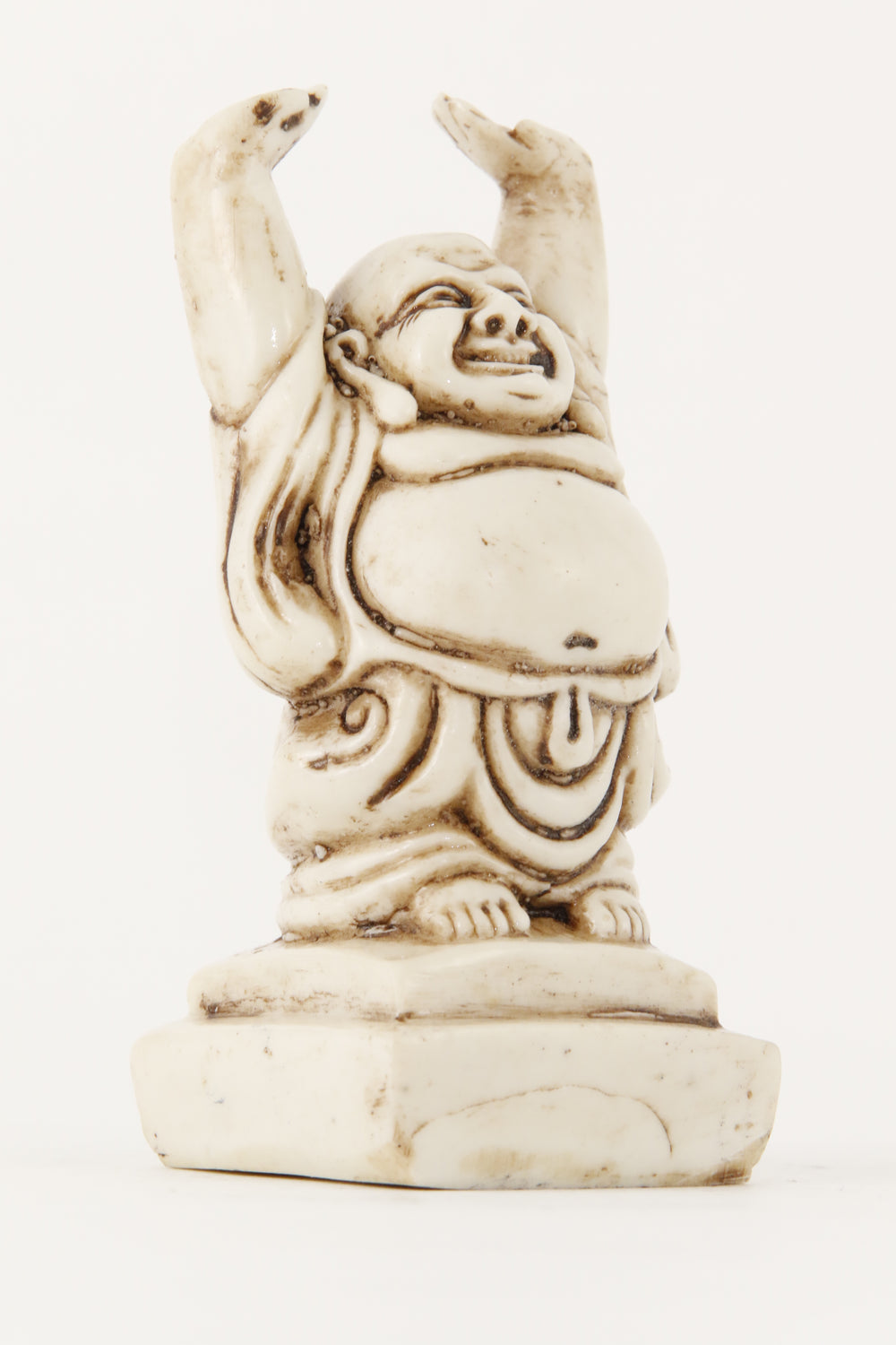 LAUGHING BUDDHA STATUE OFF-WHITE SMALL SIZESIDE VIEW