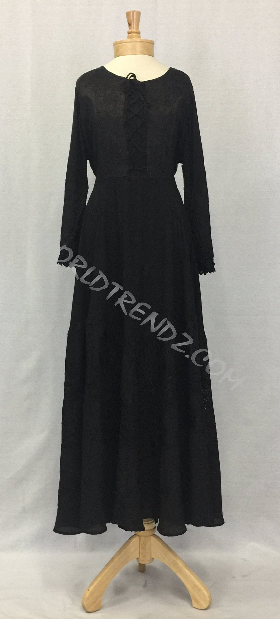 LACE-UP MEDIEVAL DRESS BLACK