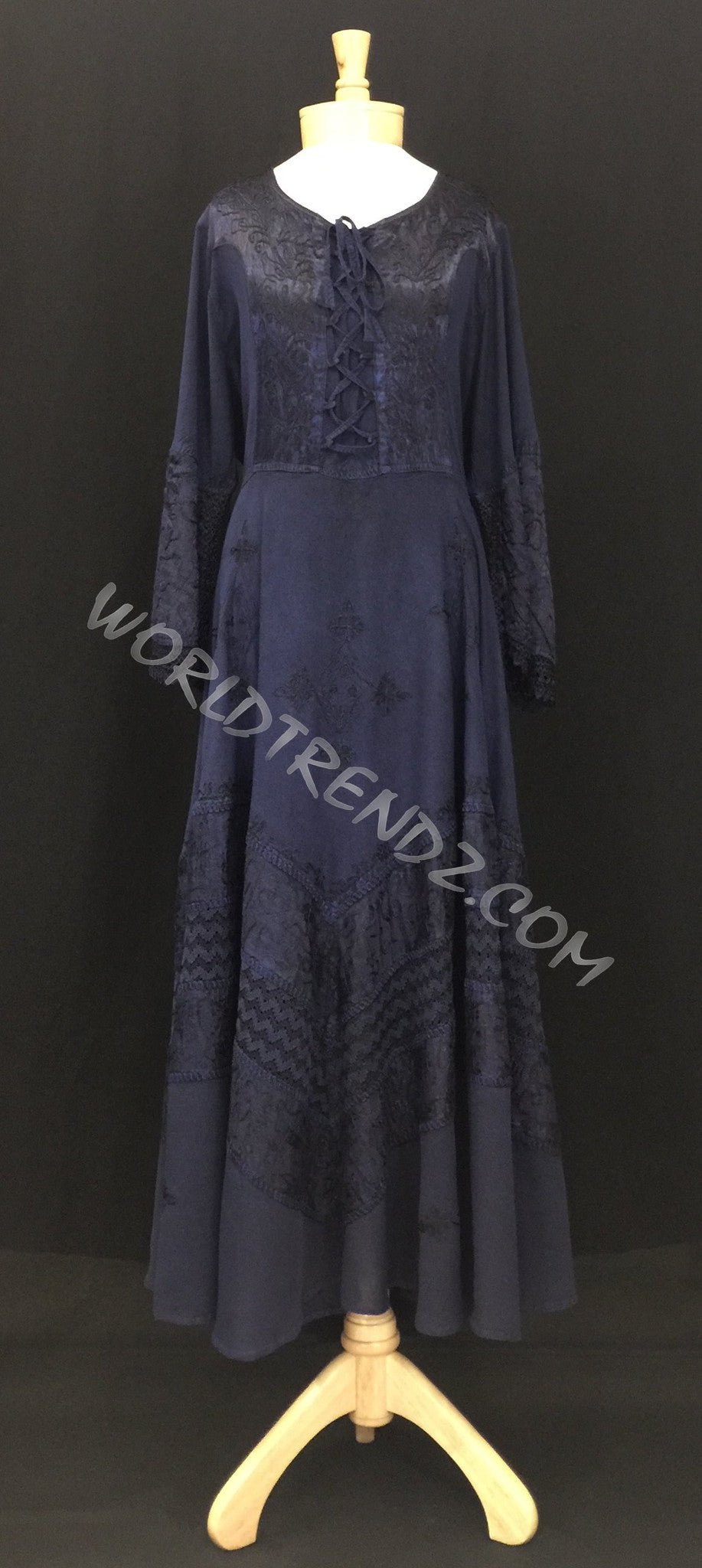 LACE-UP MEDIEVAL DRESS BLUE