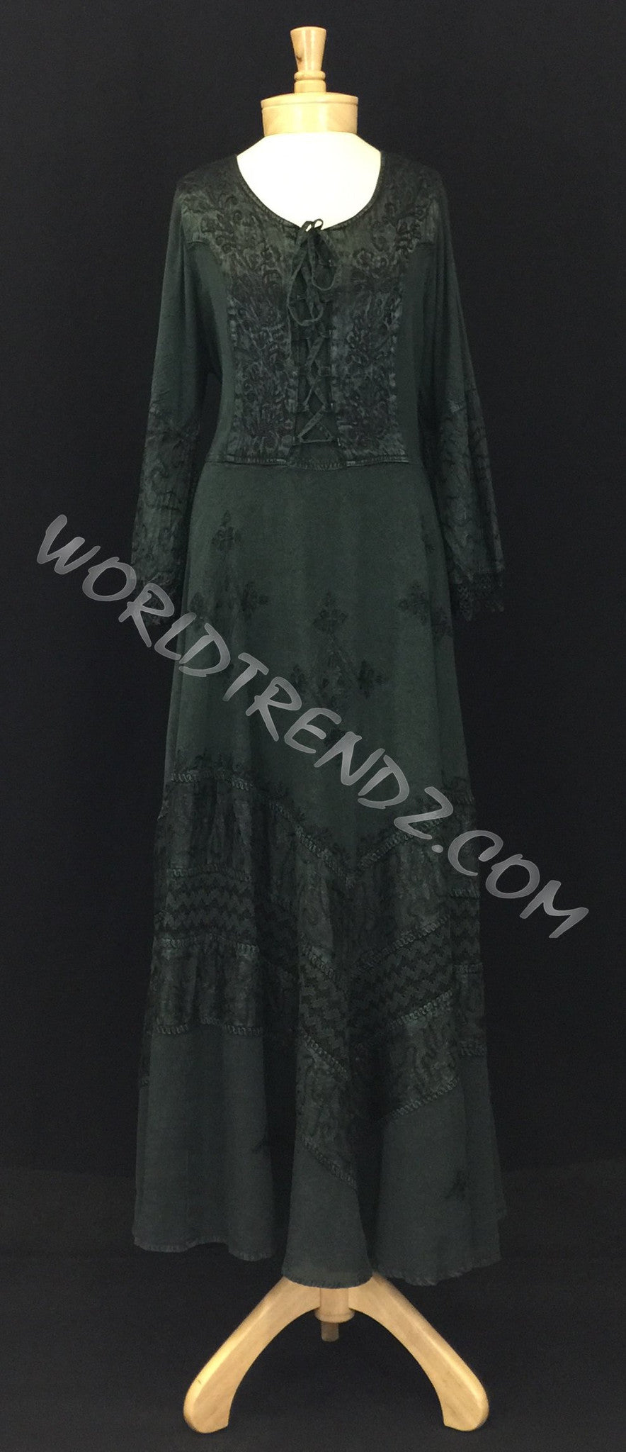 LACE-UP MEDIEVAL DRESS GREEN