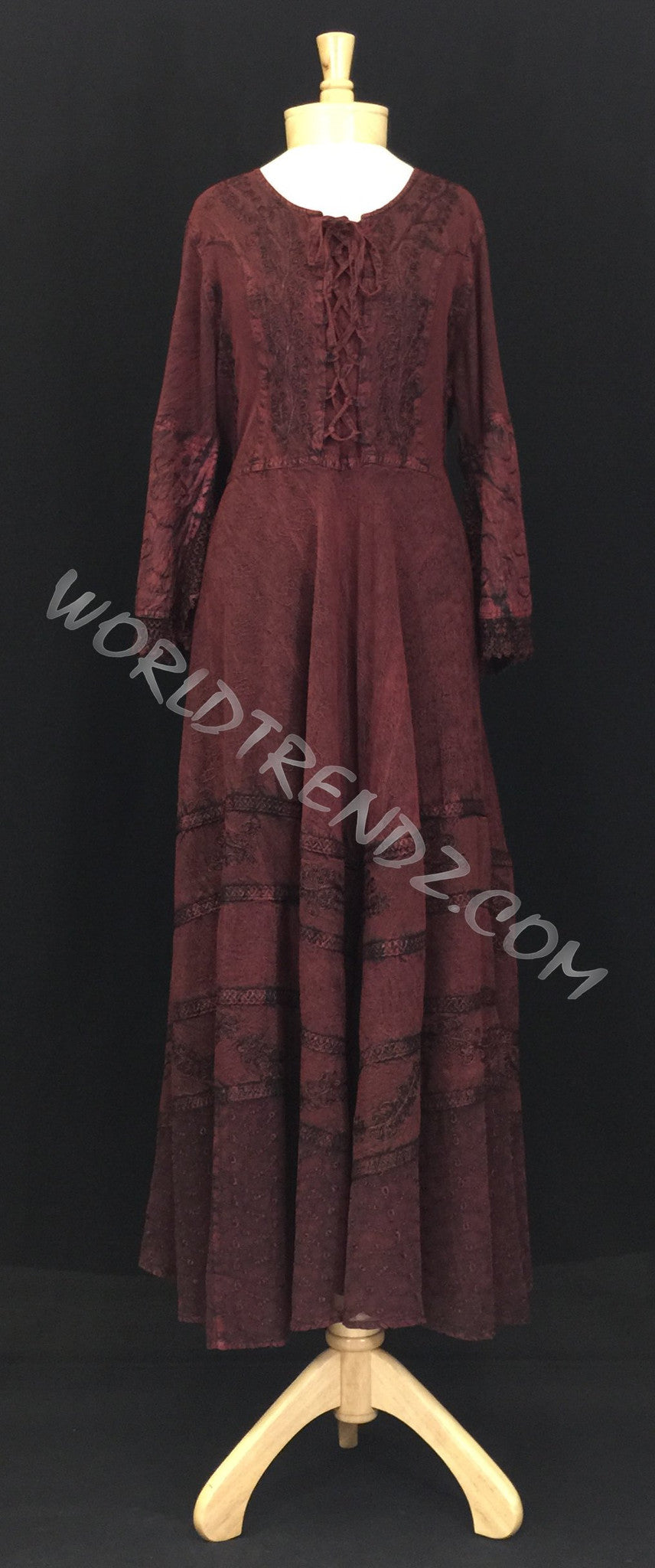 LACE-UP MEDIEVAL DRESS MAROON