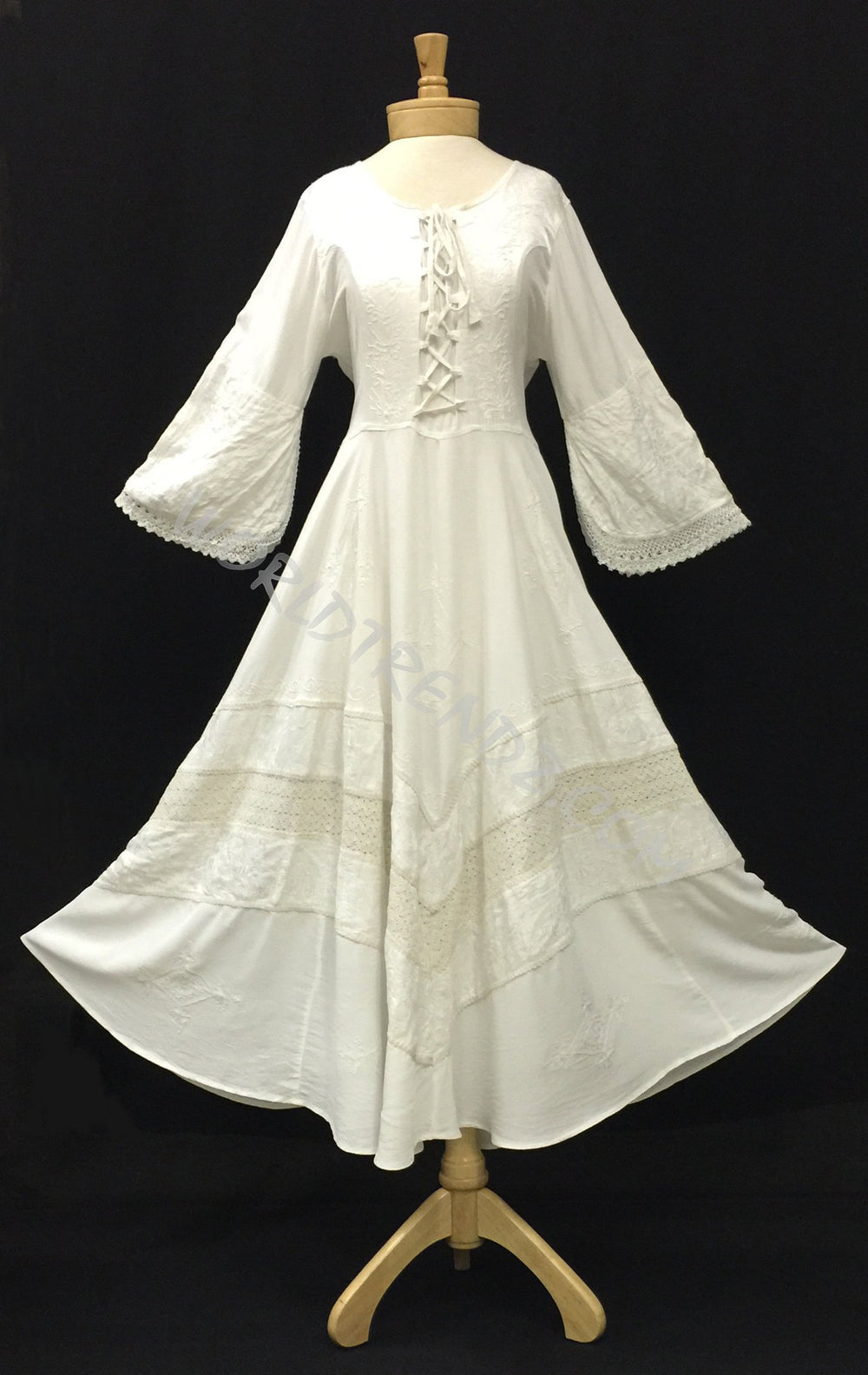 LACE-UP MEDIEVAL STYLE DRESS MAXI LENGTH WHITE FLAIR