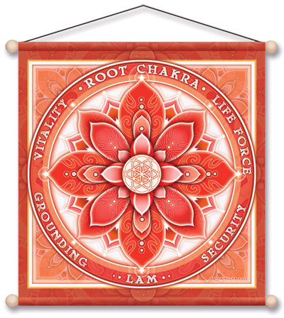 ROOT CHAKRA RED MEDITATION BANNER WALL HANGING