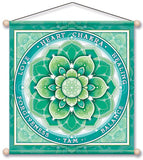 HEART CHAKRA GREEN MEDITATION BANNER WALL HANGING