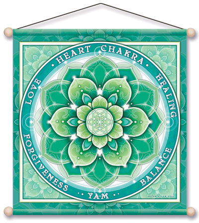 HEART CHAKRA GREEN MEDITATION TEMPLE BANNER WALL HANGING